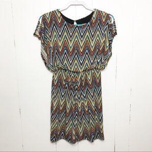 Sweet Storm Chevron Pattern Mini Dress